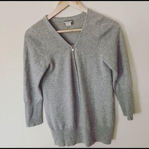 J. Crew 100% Italian Cashmere Henley Gray Sweater